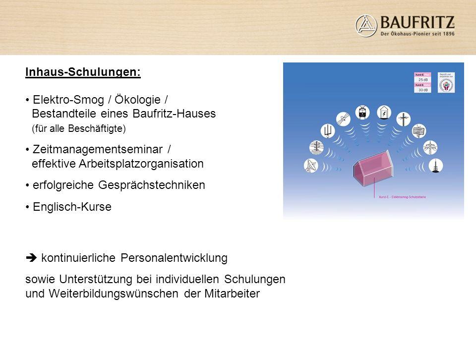 Inhaus-Schulungen: Elektro-Smog / Ökologie / Bestandteile eines Baufritz-Hauses (für alle Beschäftigte) Zeitmanagementseminar / effektive Arbeitsplatz