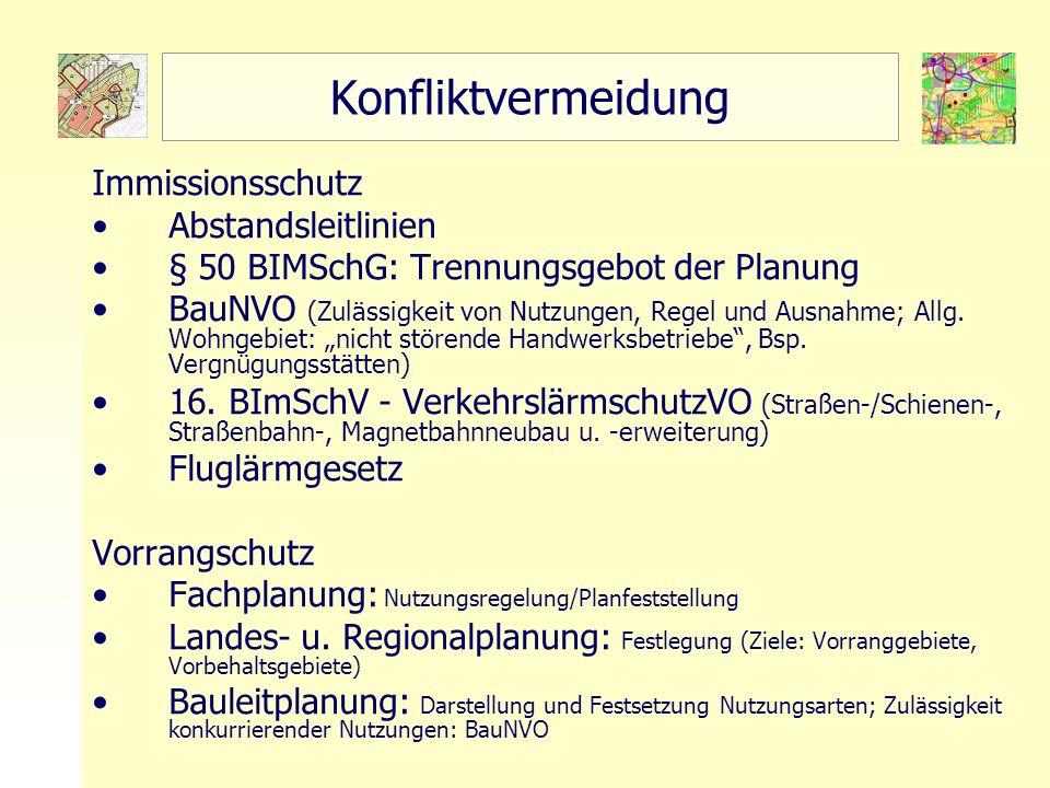 11 TU Berlin - ISR - Einführung SSP III Örtliche und Regionale Gesamtplanung Konfliktvermeidung Immissionsschutz Abstandsleitlinien § 50 BIMSchG: Trennungsgebot der Planung BauNVO (Zulässigkeit von Nutzungen, Regel und Ausnahme; Allg.