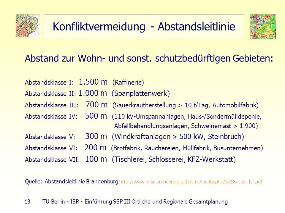 13 TU Berlin - ISR - Einführung SSP III Örtliche und Regionale Gesamtplanung Konfliktvermeidung - Abstandsleitlinie Abstand zur Wohn- und sonst. schut