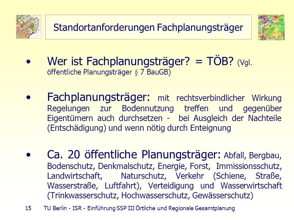 15 TU Berlin - ISR - Einführung SSP III Örtliche und Regionale Gesamtplanung Standortanforderungen Fachplanungsträger Wer ist Fachplanungsträger? = TÖ