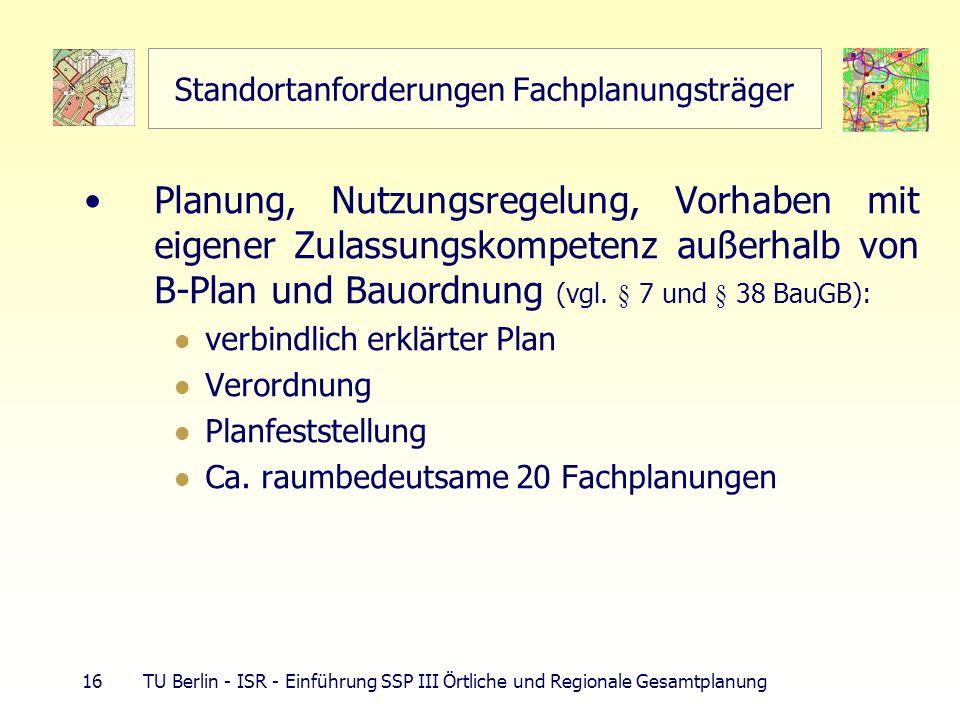16 TU Berlin - ISR - Einführung SSP III Örtliche und Regionale Gesamtplanung Standortanforderungen Fachplanungsträger Planung, Nutzungsregelung, Vorhaben mit eigener Zulassungskompetenz außerhalb von B-Plan und Bauordnung (vgl.