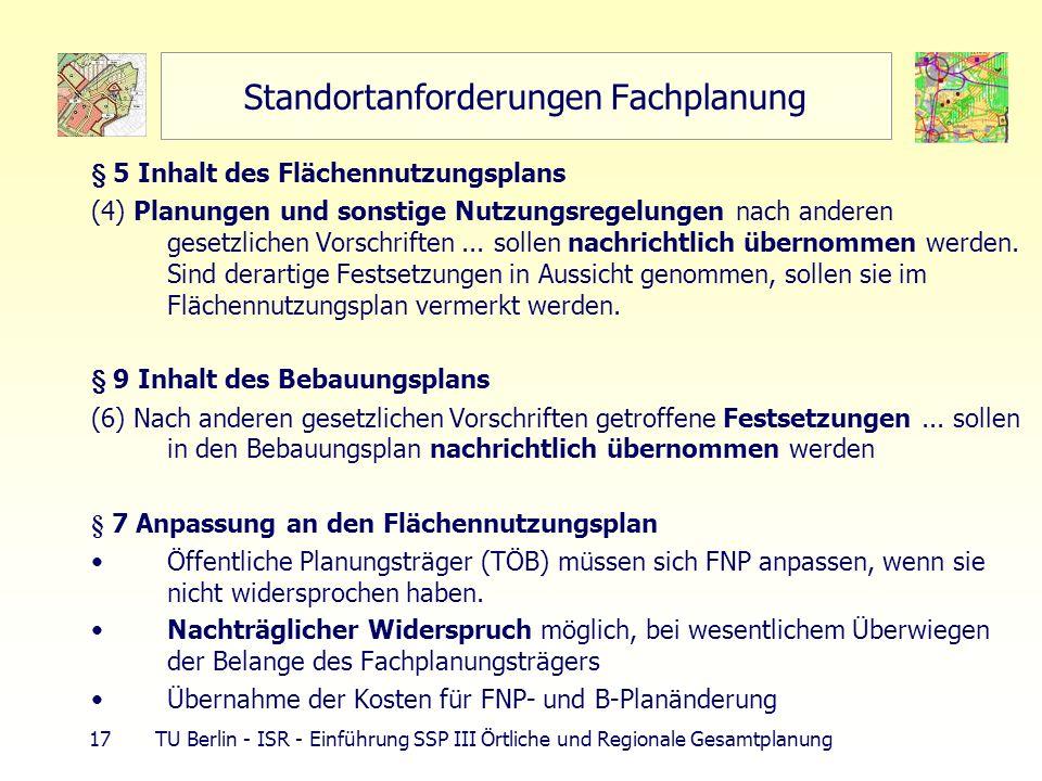 17 TU Berlin - ISR - Einführung SSP III Örtliche und Regionale Gesamtplanung Standortanforderungen Fachplanung § 5 Inhalt des Flächennutzungsplans (4) Planungen und sonstige Nutzungsregelungen nach anderen gesetzlichen Vorschriften...