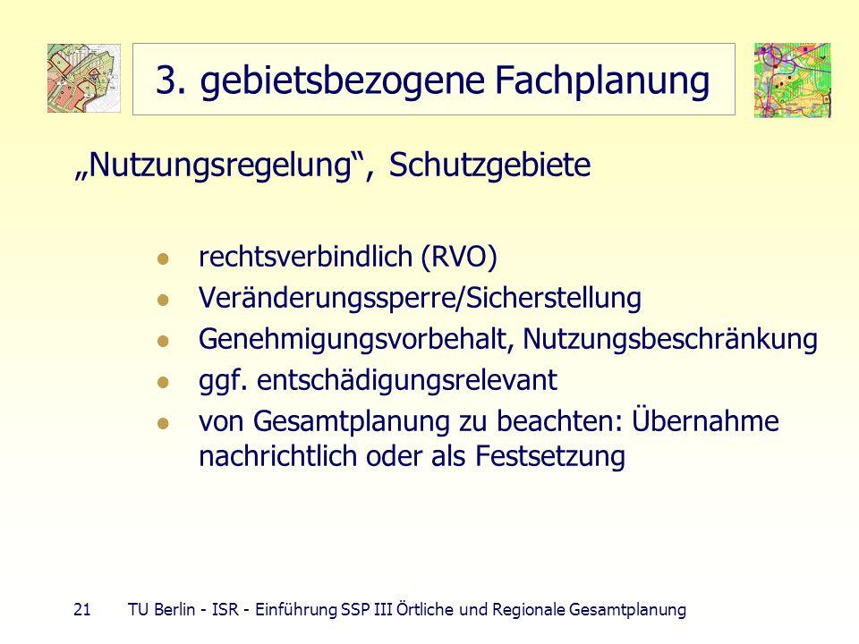 21 TU Berlin - ISR - Einführung SSP III Örtliche und Regionale Gesamtplanung 3. gebietsbezogene Fachplanung Nutzungsregelung, Schutzgebiete rechtsverb