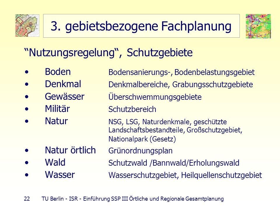 22 TU Berlin - ISR - Einführung SSP III Örtliche und Regionale Gesamtplanung 3. gebietsbezogene Fachplanung Nutzungsregelung, Schutzgebiete Boden Bode
