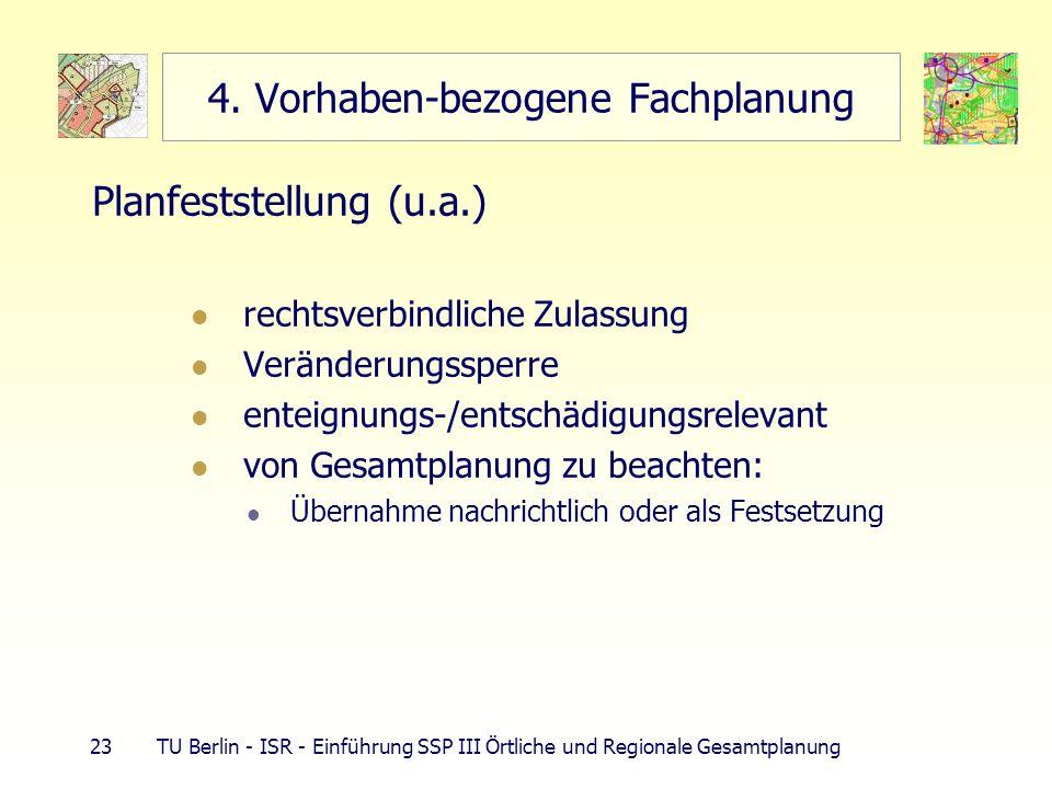 23 TU Berlin - ISR - Einführung SSP III Örtliche und Regionale Gesamtplanung 4. Vorhaben-bezogene Fachplanung Planfeststellung (u.a.) rechtsverbindlic