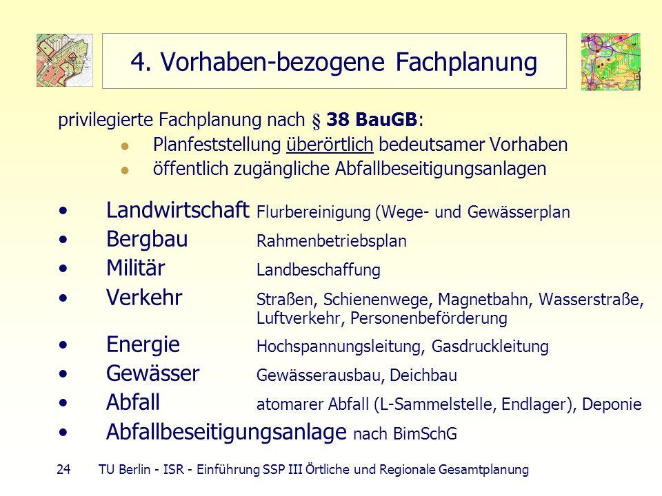 24 TU Berlin - ISR - Einführung SSP III Örtliche und Regionale Gesamtplanung 4. Vorhaben-bezogene Fachplanung privilegierte Fachplanung nach § 38 BauG
