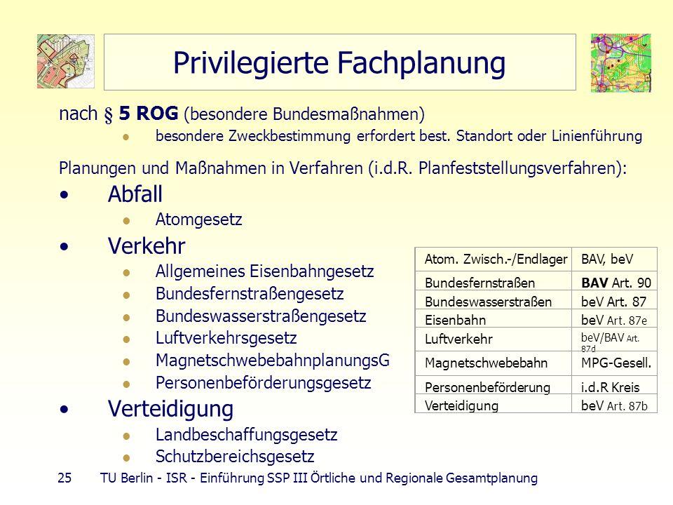 25 TU Berlin - ISR - Einführung SSP III Örtliche und Regionale Gesamtplanung Privilegierte Fachplanung nach § 5 ROG (besondere Bundesmaßnahmen) besondere Zweckbestimmung erfordert best.