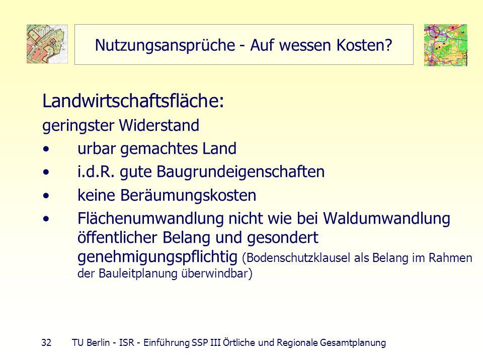 32 TU Berlin - ISR - Einführung SSP III Örtliche und Regionale Gesamtplanung Nutzungsansprüche - Auf wessen Kosten? Landwirtschaftsfläche: geringster