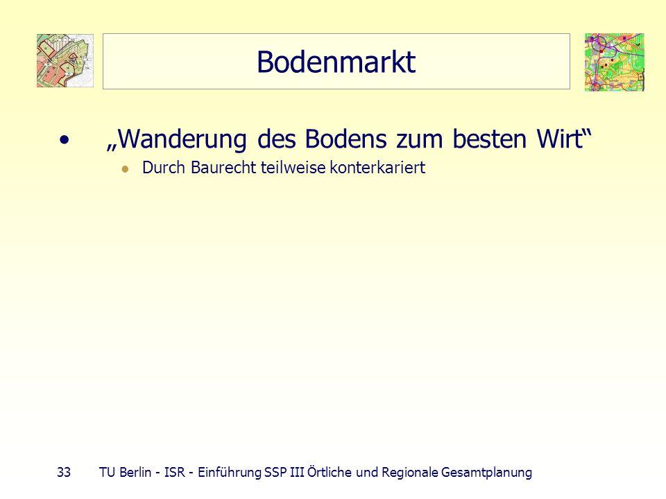 33 TU Berlin - ISR - Einführung SSP III Örtliche und Regionale Gesamtplanung Bodenmarkt Wanderung des Bodens zum besten Wirt Durch Baurecht teilweise konterkariert