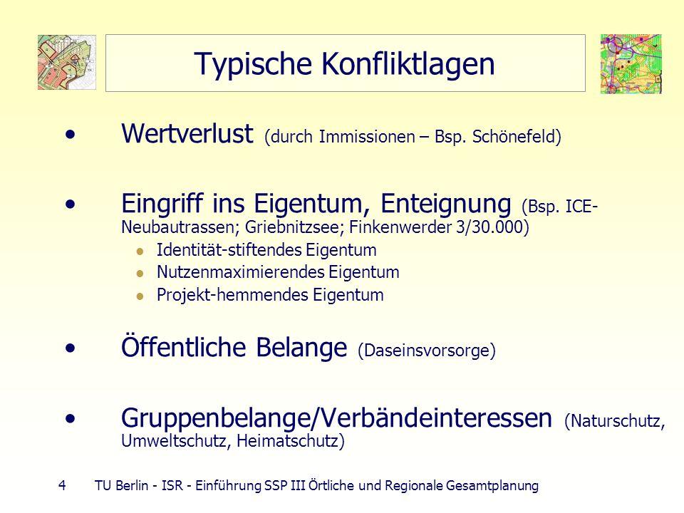 4 TU Berlin - ISR - Einführung SSP III Örtliche und Regionale Gesamtplanung Typische Konfliktlagen Wertverlust (durch Immissionen – Bsp. Schönefeld) E