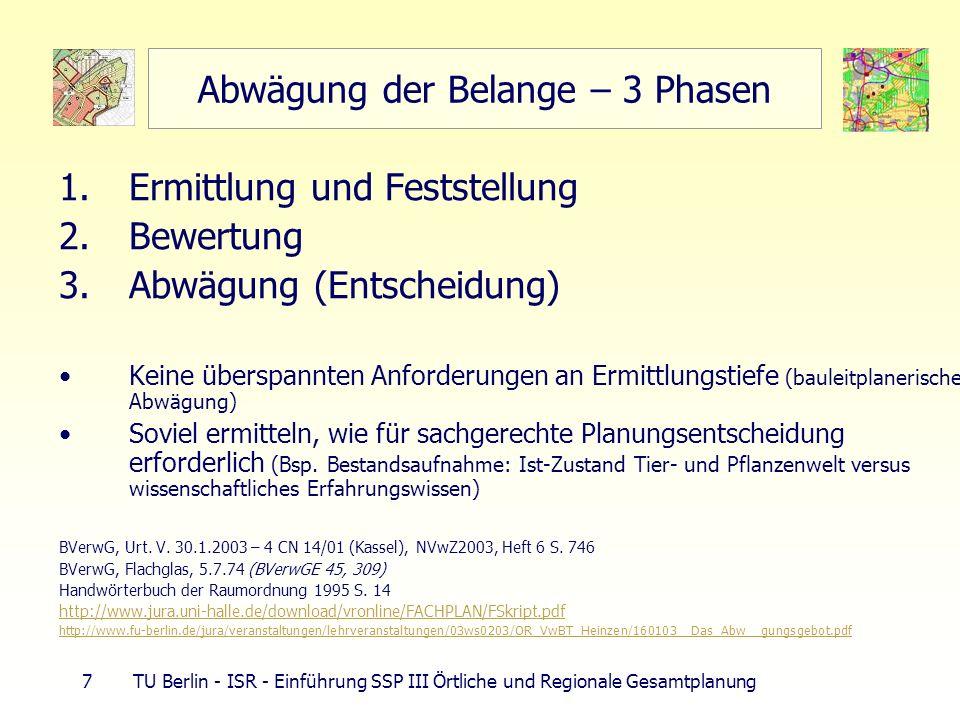 7 TU Berlin - ISR - Einführung SSP III Örtliche und Regionale Gesamtplanung Abwägung der Belange – 3 Phasen 1.Ermittlung und Feststellung 2.Bewertung