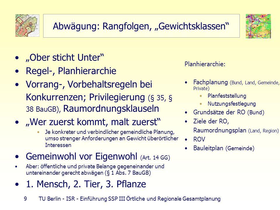 9 TU Berlin - ISR - Einführung SSP III Örtliche und Regionale Gesamtplanung Abwägung: Rangfolgen, Gewichtsklassen Ober sticht Unter Regel-, Planhierarchie Vorrang-, Vorbehaltsregeln bei Konkurrenzen; Privilegierung (§ 35, § 38 BauGB), Raumordnungsklauseln Wer zuerst kommt, malt zuerst Je konkreter und verbindlicher gemeindliche Planung, umso strenger Anforderungen an Gewicht überörtlicher Interessen Gemeinwohl vor Eigenwohl (Art.