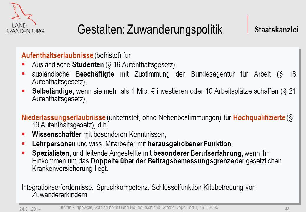 Staatskanzlei Stefan Krappweis, Vortrag beim Bund Neudeutschland, Stadtgruppe Berlin, 19.3.2005 24.01.2014 47 b) Zuwanderungspolitik Variante 9: + 300.000 Zuwanderer (stabile EW-Zahl) Variante 5: + 200.000 Zuwanderer (-7,5 Mio.