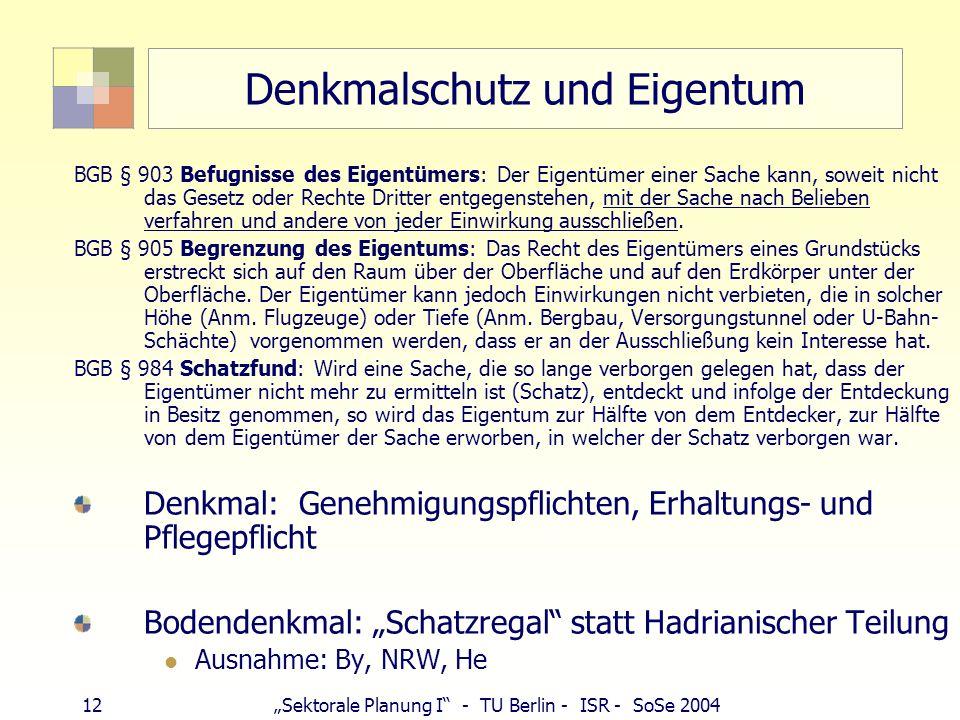 12Sektorale Planung I - TU Berlin - ISR - SoSe 2004 Denkmalschutz und Eigentum BGB § 903 Befugnisse des Eigentümers: Der Eigentümer einer Sache kann,