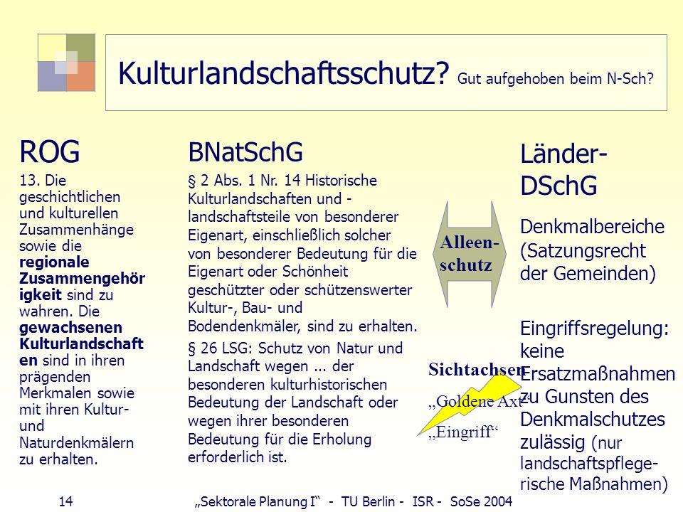14Sektorale Planung I - TU Berlin - ISR - SoSe 2004 Kulturlandschaftsschutz? Gut aufgehoben beim N-Sch? ROG 13. Die geschichtlichen und kulturellen Zu