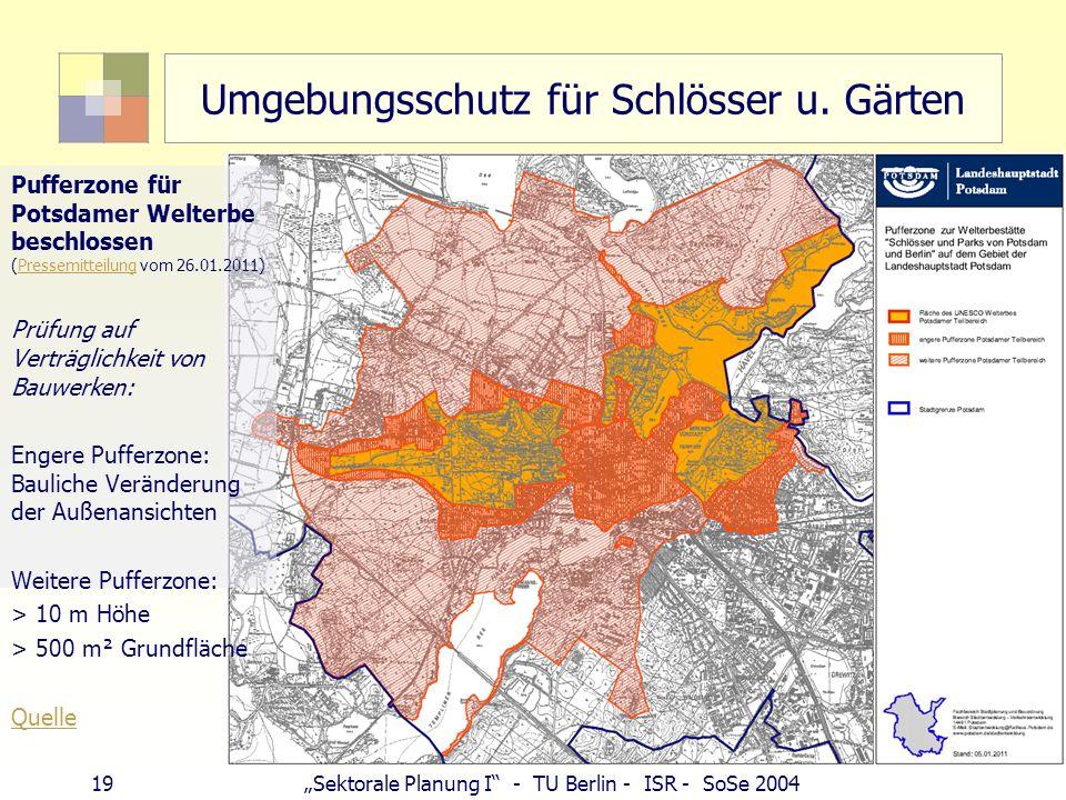 19Sektorale Planung I - TU Berlin - ISR - SoSe 2004 Umgebungsschutz für Schlösser u. Gärten Karte Pufferzone Pufferzone für Potsdamer Welterbe beschlo