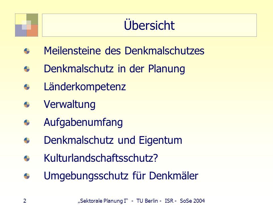 2Sektorale Planung I - TU Berlin - ISR - SoSe 2004 Übersicht Meilensteine des Denkmalschutzes Denkmalschutz in der Planung Länderkompetenz Verwaltung