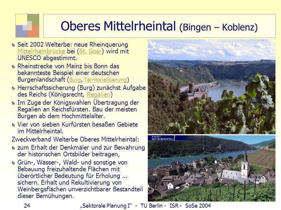 24Sektorale Planung I - TU Berlin - ISR - SoSe 2004 Oberes Mittelrheintal (Bingen – Koblenz) Seit 2002 Welterbe: neue Rheinquerung Mittelrheinbrücke b
