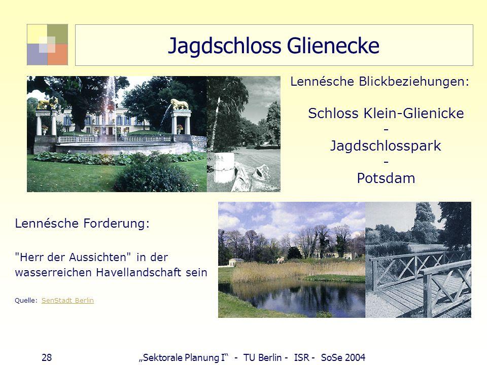 28Sektorale Planung I - TU Berlin - ISR - SoSe 2004 Jagdschloss Glienecke Lennésche Blickbeziehungen: Schloss Klein-Glienicke - Jagdschlosspark - Pots
