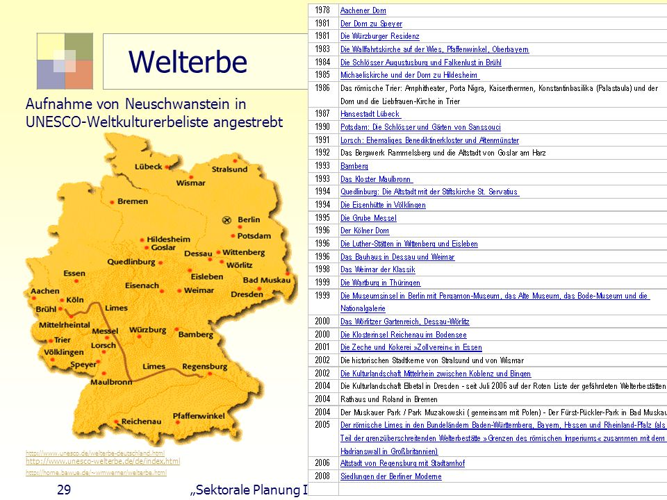 29Sektorale Planung I - TU Berlin - ISR - SoSe 2004 Welterbe Aufnahme von Neuschwanstein in UNESCO-Weltkulturerbeliste angestrebt http://www.unesco.de