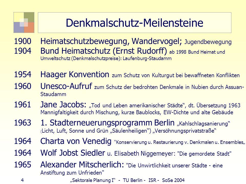 4Sektorale Planung I - TU Berlin - ISR - SoSe 2004 Denkmalschutz-Meilensteine 1900Heimatschutzbewegung, Wandervogel; Jugendbewegung 1904Bund Heimatsch