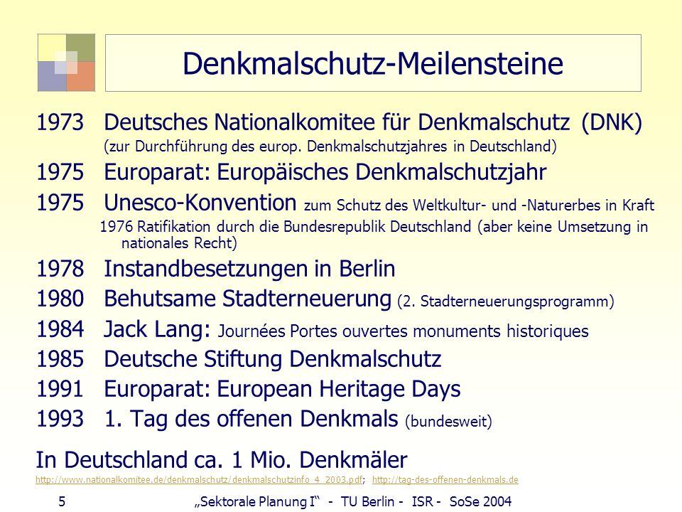 5Sektorale Planung I - TU Berlin - ISR - SoSe 2004 Denkmalschutz-Meilensteine 1973 Deutsches Nationalkomitee für Denkmalschutz (DNK) (zur Durchführung