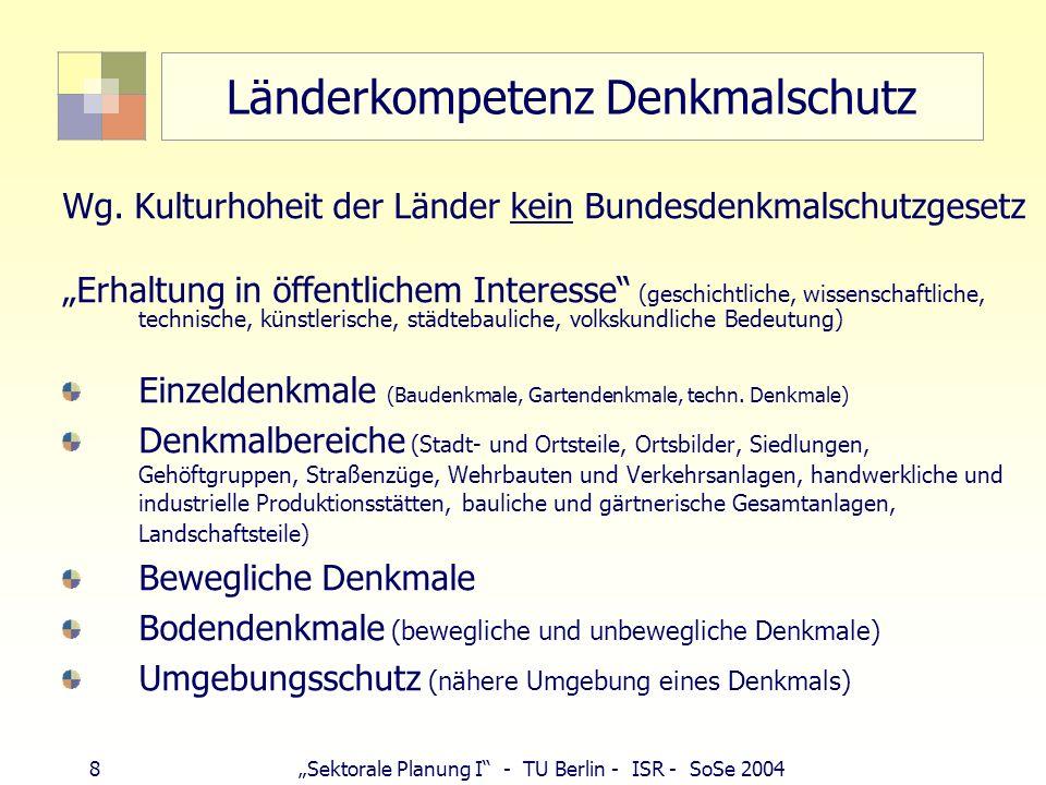 8Sektorale Planung I - TU Berlin - ISR - SoSe 2004 Länderkompetenz Denkmalschutz Wg. Kulturhoheit der Länder kein Bundesdenkmalschutzgesetz Erhaltung