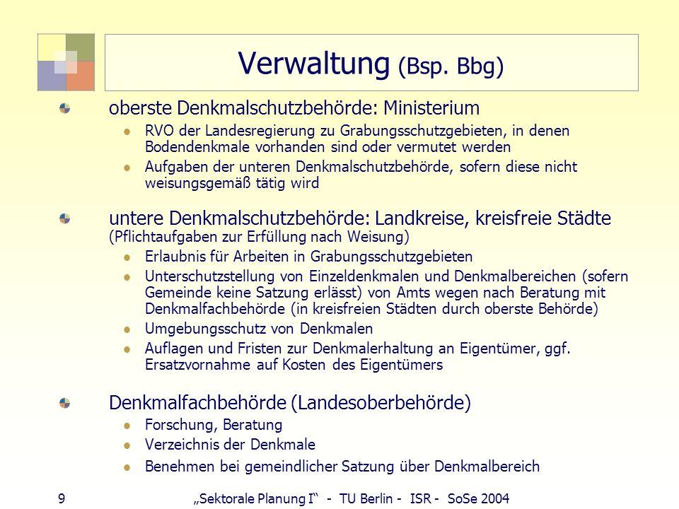 9Sektorale Planung I - TU Berlin - ISR - SoSe 2004 Verwaltung (Bsp. Bbg) oberste Denkmalschutzbehörde: Ministerium RVO der Landesregierung zu Grabungs