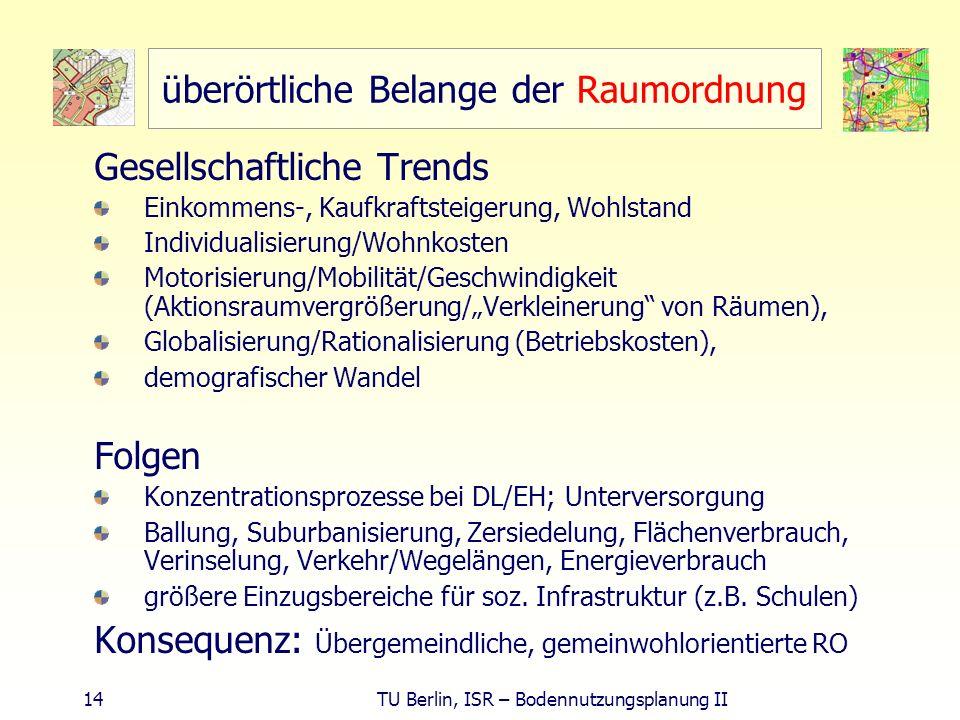 14 TU Berlin, ISR – Bodennutzungsplanung II überörtliche Belange der Raumordnung Gesellschaftliche Trends Einkommens-, Kaufkraftsteigerung, Wohlstand