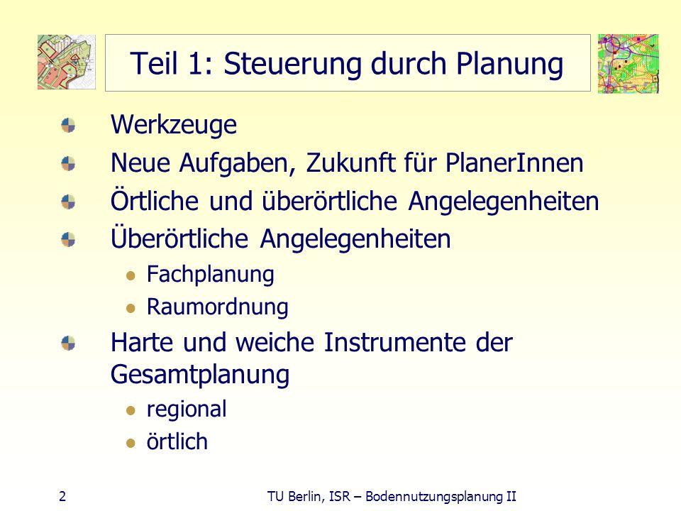 23 TU Berlin, ISR – Bodennutzungsplanung II Überörtlicher Belang - Verkehrsvermeidung Schule - Soziale Infrastruktur in zentralen Orten konzentrieren - Verkehr vermeiden 4 Schüler: Schulweg insgesamt.