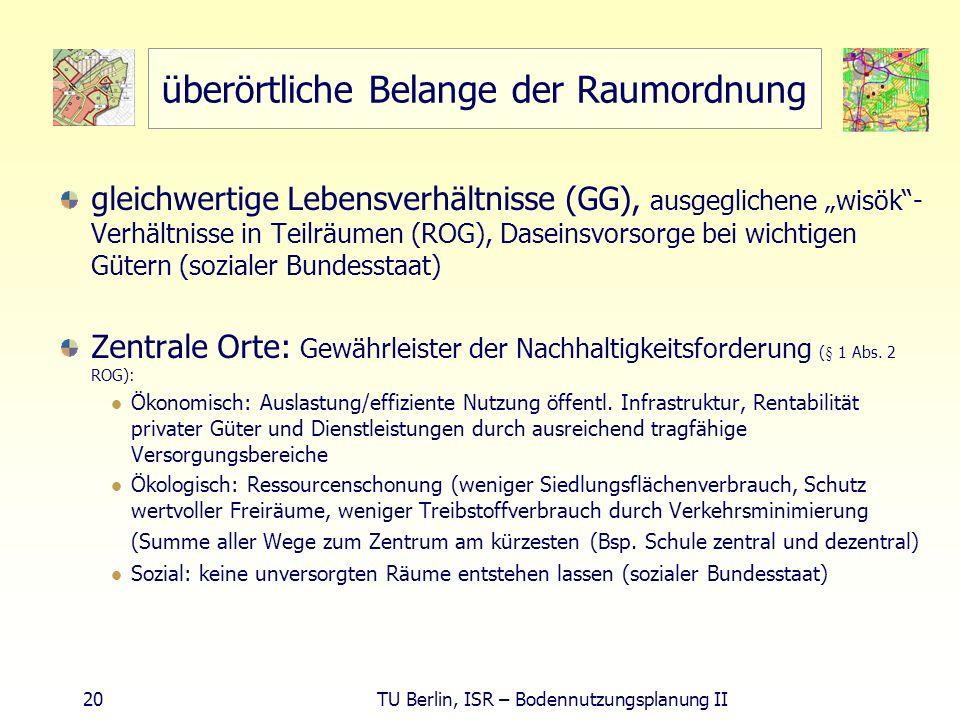20 TU Berlin, ISR – Bodennutzungsplanung II überörtliche Belange der Raumordnung gleichwertige Lebensverhältnisse (GG), ausgeglichene wisök- Verhältni