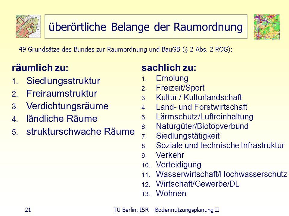 21 TU Berlin, ISR – Bodennutzungsplanung II überörtliche Belange der Raumordnung r ä umlich zu: 1. Siedlungsstruktur 2. Freiraumstruktur 3. Verdichtun