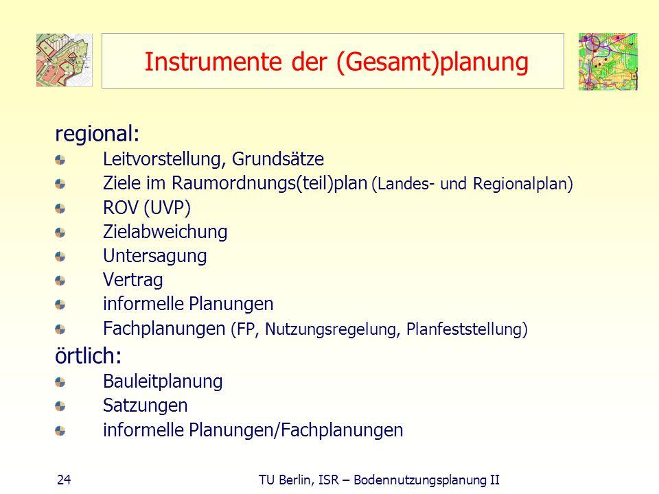 24 TU Berlin, ISR – Bodennutzungsplanung II Instrumente der (Gesamt)planung regional: Leitvorstellung, Grundsätze Ziele im Raumordnungs(teil)plan (Lan