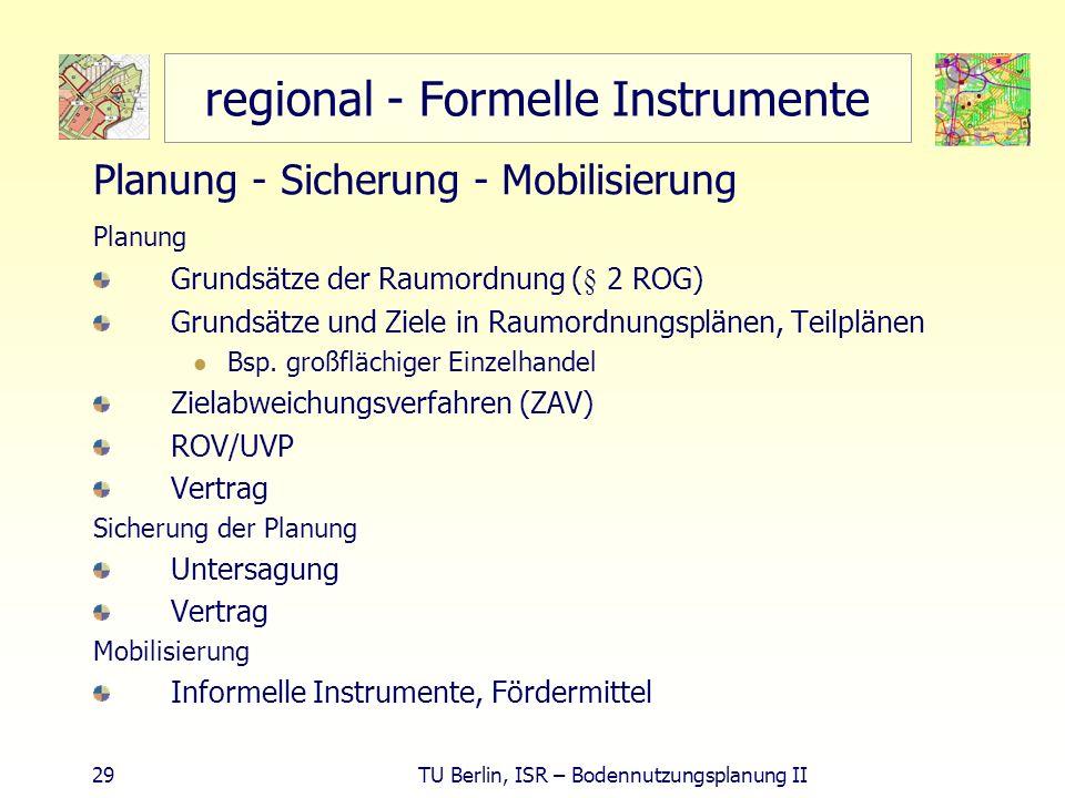 29 TU Berlin, ISR – Bodennutzungsplanung II regional - Formelle Instrumente Planung - Sicherung - Mobilisierung Planung Grundsätze der Raumordnung (§