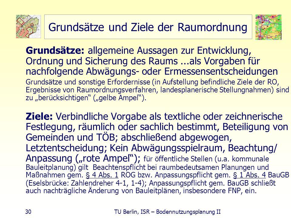 30 TU Berlin, ISR – Bodennutzungsplanung II Grundsätze und Ziele der Raumordnung Grundsätze: allgemeine Aussagen zur Entwicklung, Ordnung und Sicherun