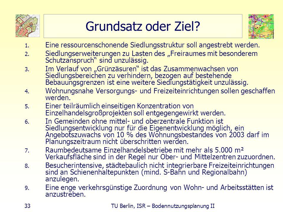 33 TU Berlin, ISR – Bodennutzungsplanung II Grundsatz oder Ziel? 1. Eine ressourcenschonende Siedlungsstruktur soll angestrebt werden. 2. Siedlungserw