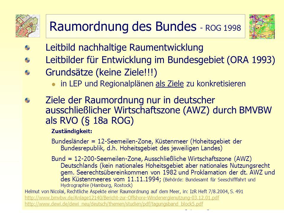 34 TU Berlin, ISR – Bodennutzungsplanung II Raumordnung des Bundes - ROG 1998 Leitbild nachhaltige Raumentwicklung Leitbilder für Entwicklung im Bunde