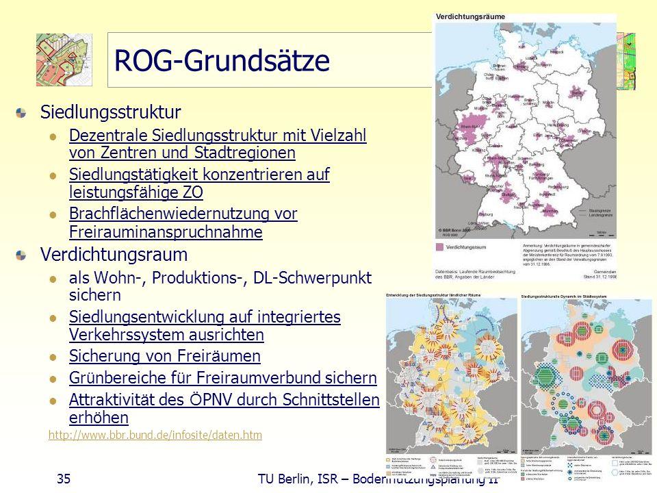 35 TU Berlin, ISR – Bodennutzungsplanung II ROG-Grundsätze Siedlungsstruktur Dezentrale Siedlungsstruktur mit Vielzahl von Zentren und Stadtregionen S
