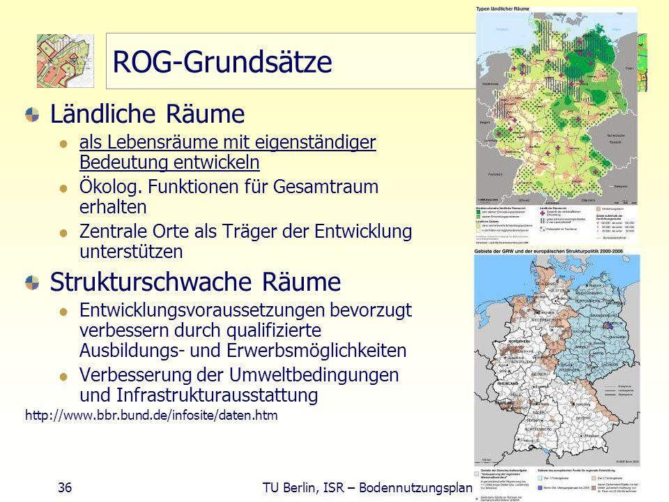 36 TU Berlin, ISR – Bodennutzungsplanung II ROG-Grundsätze Ländliche Räume als Lebensräume mit eigenständiger Bedeutung entwickeln Ökolog. Funktionen