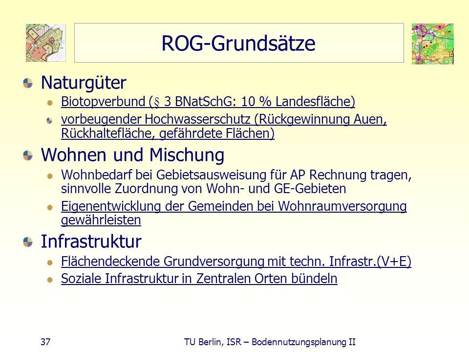 37 TU Berlin, ISR – Bodennutzungsplanung II ROG-Grundsätze Naturgüter Biotopverbund (§ 3 BNatSchG: 10 % Landesfläche) vorbeugender Hochwasserschutz (R