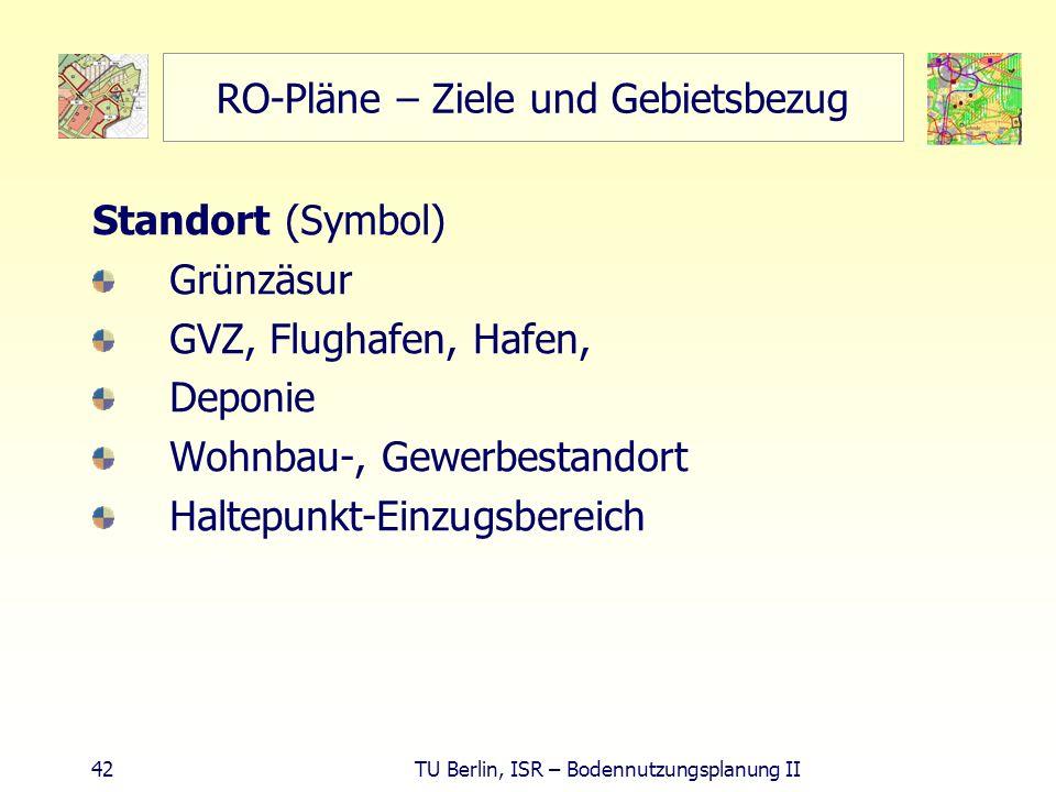 42 TU Berlin, ISR – Bodennutzungsplanung II RO-Pläne – Ziele und Gebietsbezug Standort (Symbol) Grünzäsur GVZ, Flughafen, Hafen, Deponie Wohnbau-, Gew