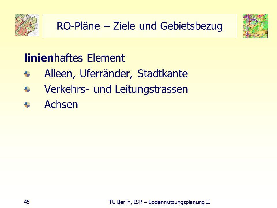 45 TU Berlin, ISR – Bodennutzungsplanung II RO-Pläne – Ziele und Gebietsbezug linienhaftes Element Alleen, Uferränder, Stadtkante Verkehrs- und Leitun