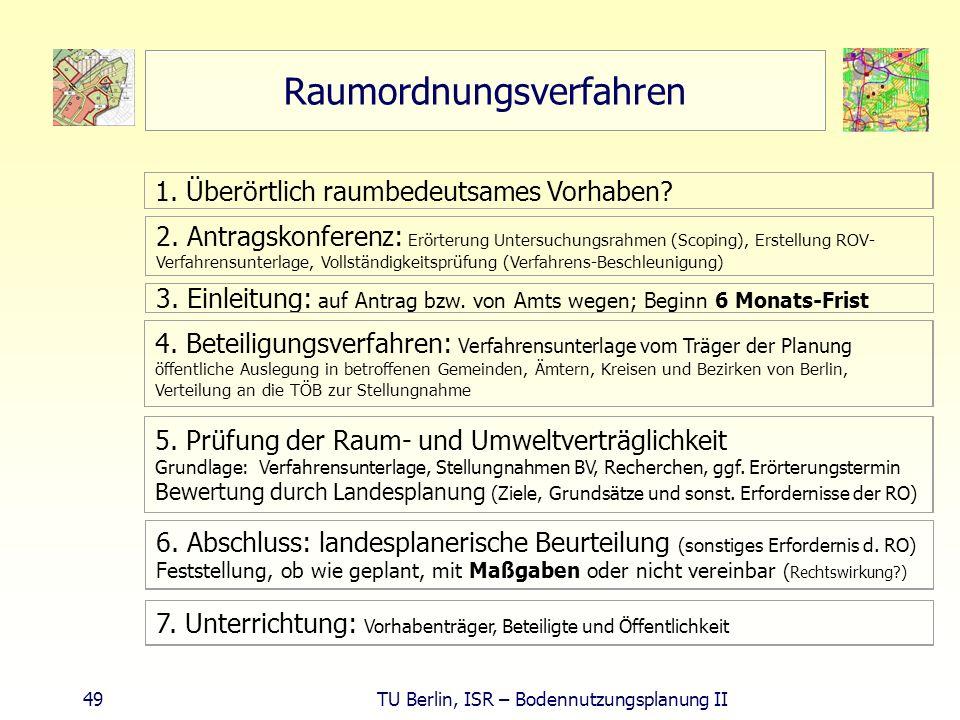 49 TU Berlin, ISR – Bodennutzungsplanung II Raumordnungsverfahren 1. Überörtlich raumbedeutsames Vorhaben? 2. Antragskonferenz: Erörterung Untersuchun