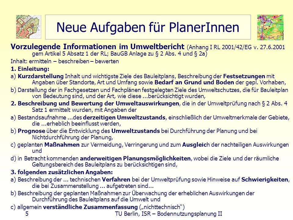 5 TU Berlin, ISR – Bodennutzungsplanung II Neue Aufgaben für PlanerInnen Vorzulegende Informationen im Umweltbericht (Anhang I RL 2001/42/EG v. 27.6.2