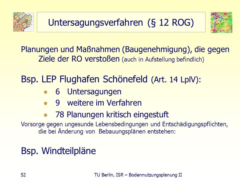 52 TU Berlin, ISR – Bodennutzungsplanung II Untersagungsverfahren (§ 12 ROG) Planungen und Maßnahmen (Baugenehmigung), die gegen Ziele der RO verstoße