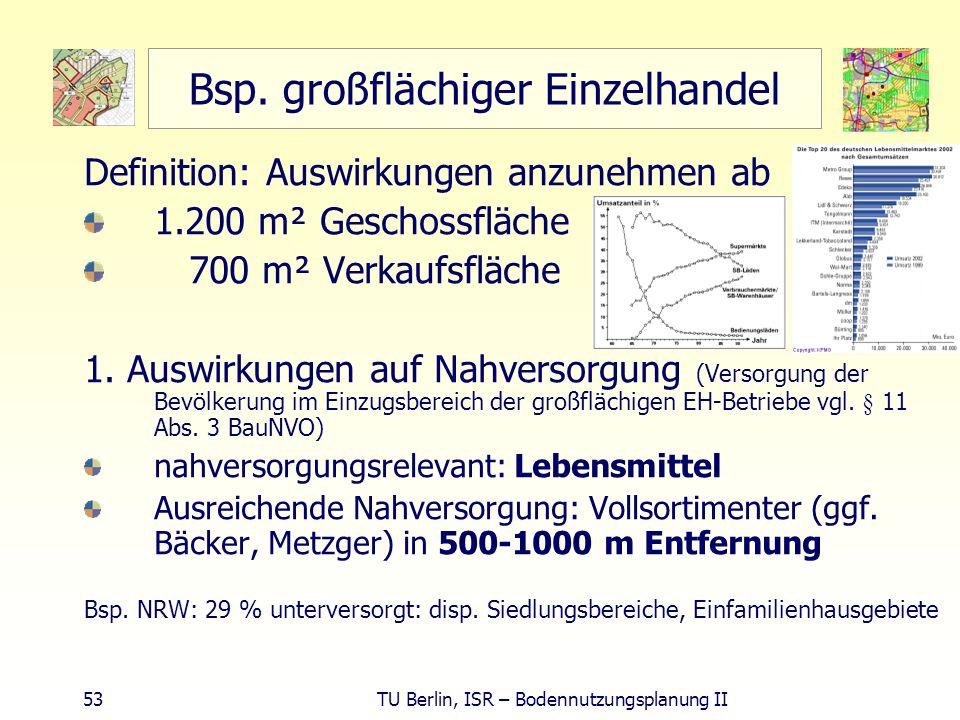 53 TU Berlin, ISR – Bodennutzungsplanung II Bsp. großflächiger Einzelhandel Definition: Auswirkungen anzunehmen ab 1.200 m² Geschossfläche 700 m² Verk