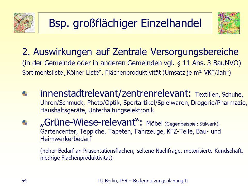 54 TU Berlin, ISR – Bodennutzungsplanung II Bsp. großflächiger Einzelhandel 2. Auswirkungen auf Zentrale Versorgungsbereiche (in der Gemeinde oder in