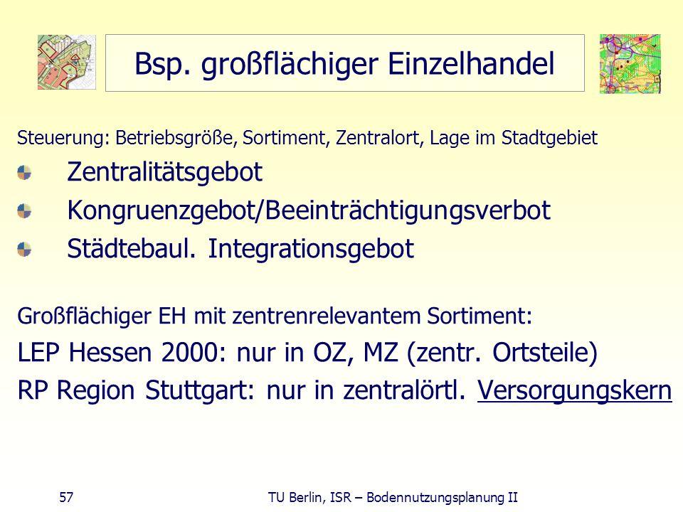 57 TU Berlin, ISR – Bodennutzungsplanung II Bsp. großflächiger Einzelhandel Steuerung: Betriebsgröße, Sortiment, Zentralort, Lage im Stadtgebiet Zentr