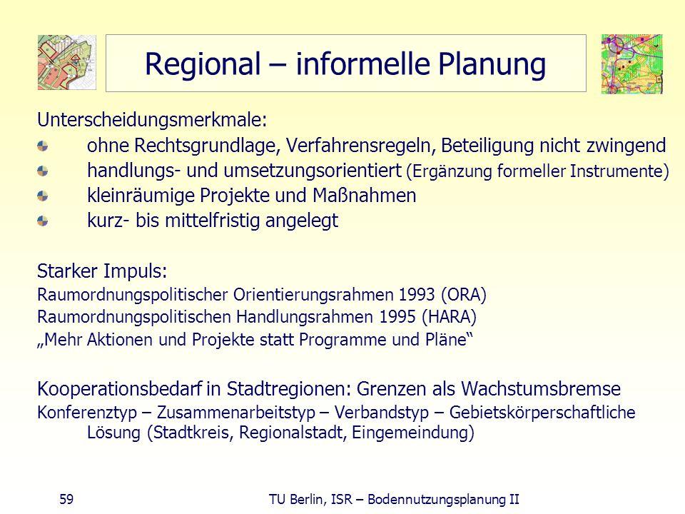 59 TU Berlin, ISR – Bodennutzungsplanung II Regional – informelle Planung Unterscheidungsmerkmale: ohne Rechtsgrundlage, Verfahrensregeln, Beteiligung