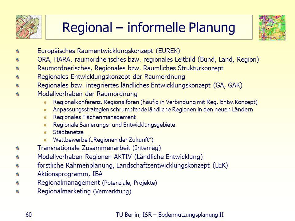 60 TU Berlin, ISR – Bodennutzungsplanung II Regional – informelle Planung Europäisches Raumentwicklungskonzept (EUREK) ORA, HARA, raumordnerisches bzw